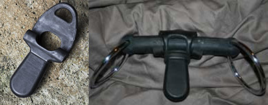 Rubber bit port (left) and a rubber snaffle bit with a rubber bit port attached (right)