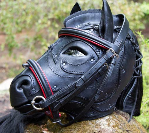 View from the right front of the mask wearing a red bridle slightly too big for it.