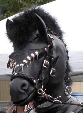 A ponyboy wearing the newer model Bob Basset horse head mask at the 2012 Folsom Street fair