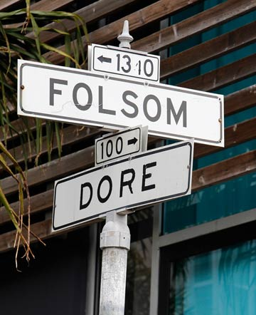 Dore Alley and Folsom Street intersection. The heart of the Up Your Alley Fair