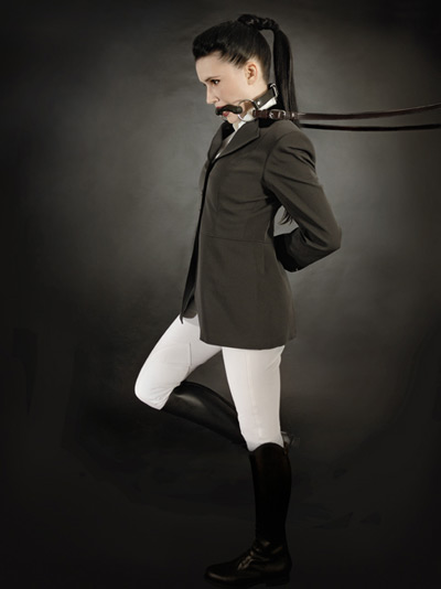 Dressage rider as a ponygirl