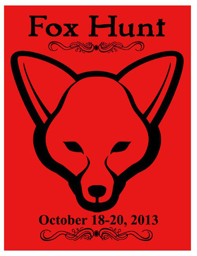 Flyer and logo for the northern california human fox hunt
