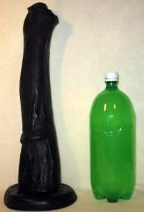 Horse cock dildo and 2L bottle for scale