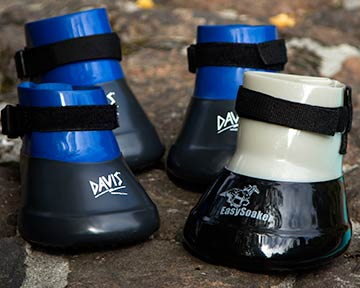 Medicine (also known as soaking or poultice) boots. Typically made of PVC, they are used to protect a horses hoof or to keep it in contact with a medicinal solution.