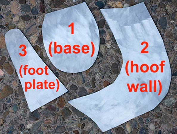 The three steel parts of the hoof portion of the boot.