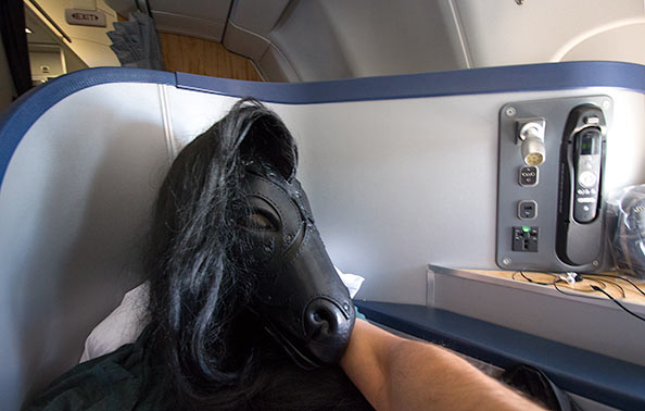 Pony selfie on the plane to Germany