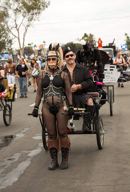 A pair of human pony carts during the parade