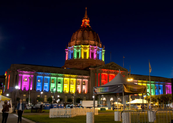 SF City Hall lit up during Pride week 2013
