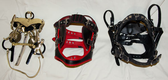Three different bridles for pony play
