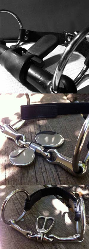 Rubber bit gag with attached rubber bit port (top), english spoon bit (middle), loose ring tongue bit (bottom). These bits are cheap and easy ways to prevent a pony from making intelligible sounds