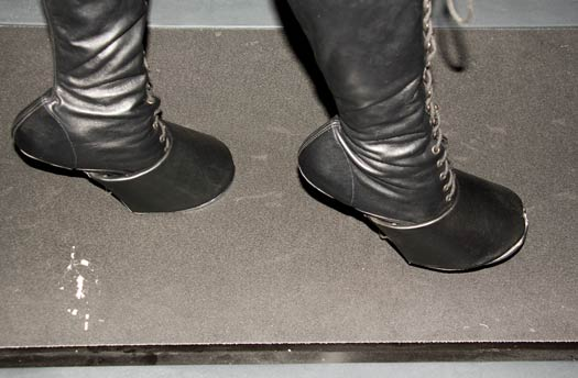 Me wearing hoof boots on the treadmill at the beginning of the scene